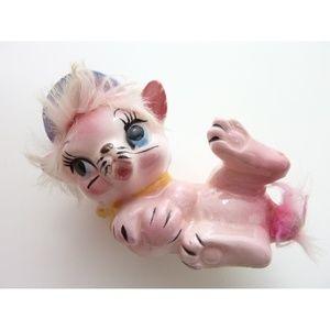 Vintage Ceramic Pink Cat